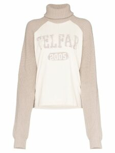 Telfar turtleneck logo knitted jumper - Neutrals