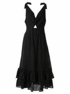 Suboo crossing twist front maxi dress - Black