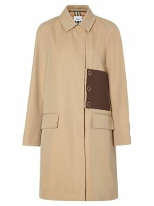 Burberry monogram leather detail gabardine car coat - Neutrals