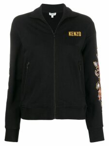 Kenzo zipped floral embroidered sweater - Black