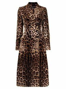 Dolce & Gabbana leopard print double-breasted coat - NEUTRALS