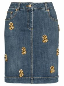 Moschino dollar sign-embellished denim skirt - Blue