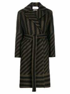 Closed stripe belted coat - Green