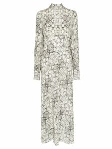Les Reveries snake print pussy bow midi dress - NEUTRALS