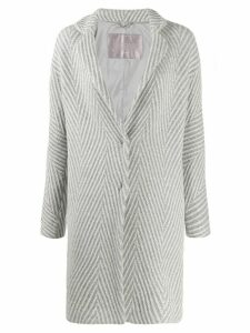 Herno geometric pattern single-breasted coat - Grey