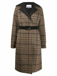 GANNI belted reversible coat - Brown