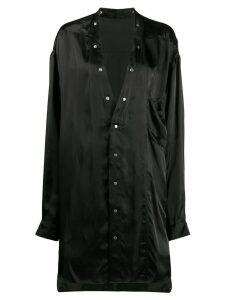 Rick Owens collarless long-length shirt - Black
