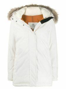 Pyrenex fur-trimmed hood coat - White