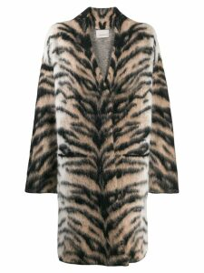 Laneus oversized tiger pattern coat - NEUTRALS