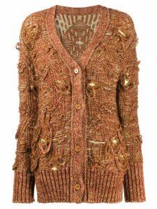 Mm6 Maison Margiela undone-effect thick knit cardi-coat - Brown