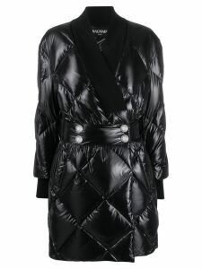 Balmain quilted patent coat - Black