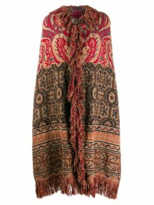 Etro mixed pattern fringed cape - Neutrals