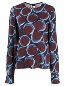 Marni printed longsleeved blouse - Blue