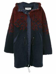 Monse patterned shearling coat - Blue