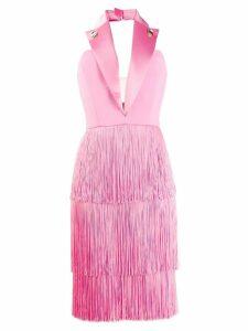 Elisabetta Franchi fringed tuxedo dress - Pink