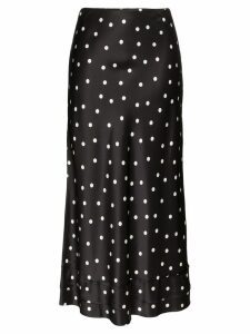 Lee Mathews Talulah polka-dot silk midi skirt - Black