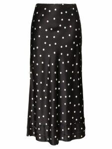 Lee Mathews Talulah polka-dot silk midi skirt - Black
