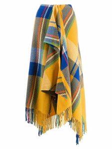 Mira Mikati checked scarf-style skirt - Yellow