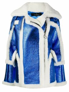 Nicole Benisti metallic moto coat - Blue