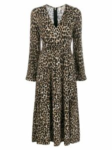 Michael Michael Kors cheetah pattern midi dress - Brown