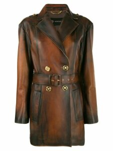 Versace belted distressed-leather coat - Brown
