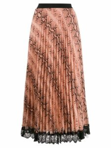 Twin-Set snake print pleated skirt - Neutrals