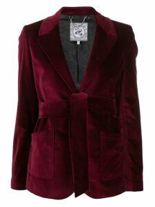 Tommy Hilfiger tie waist velvet blazer - Red