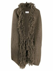 Snobby Sheep shaggy collar knitted coat - Brown