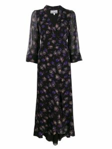 Ganni floral wrap dress - Black