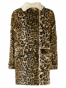 R13 oversized leopard-print coat - Brown