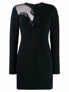 David Koma crochet snake short dress - Black