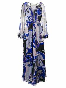 Emilio Pucci Hanami Print Ruffle Front Silk Dress - Blue
