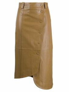 GANNI asymmetric wrap midi skirt - Brown