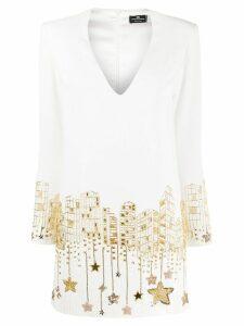 Elisabetta Franchi star sequinned mini dress - White