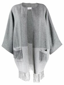 Snobby Sheep fringed colour block cape coat - Grey