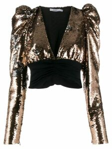 Amen cropped sequin blouse - Gold