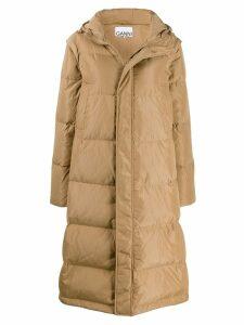Ganni long line puffer jacket - Neutrals