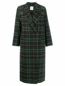 Sandro Paris checked double breasted coat - Green