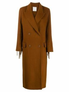 Sandro Paris fringed double-breasted coat - Brown