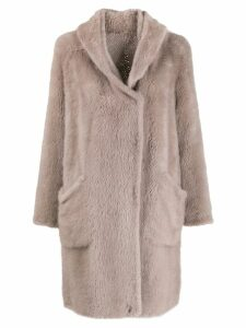 Liska oversized fur coat - Neutrals