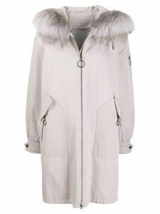 Liska fur collar coat - NEUTRALS