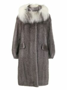 Liska fur collar coat - Blue