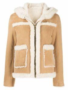 Sandro Paris hooded shearling jacket - Brown