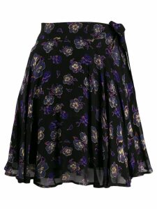 Ganni floral wrap mini skirt - Black