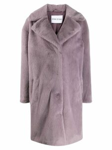 STAND STUDIO single-breasted faux fur coat - PURPLE