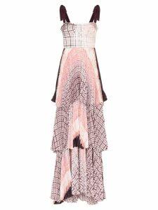 Silvia Tcherassi Daria tiered checked maxi dress - PURPLE