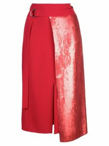 Tibi panelled skirt with sequins - Red