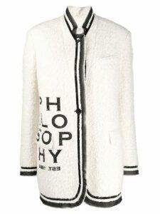 Philosophy Di Lorenzo Serafini logo print coat - White