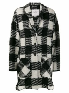 Woolrich checked single breasted coat - Black
