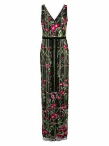 Marchesa Notte beaded embroidered long dress - Black